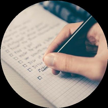 Hand written list on notepad